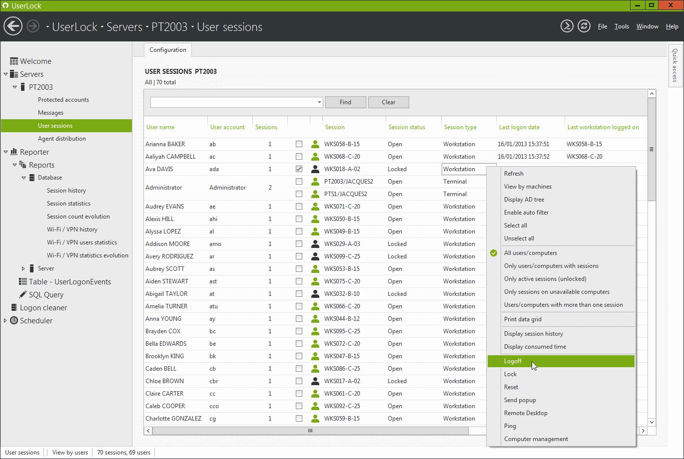 UserLock User Sessions