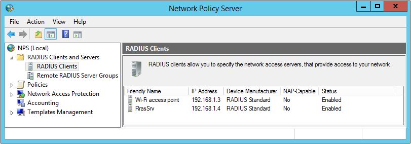 add radius clients to the radius server