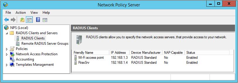 add radius clients to the radius server
