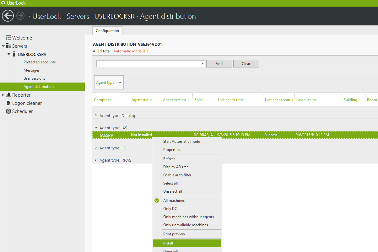 Install the IAS UserLock agent on that IAS server