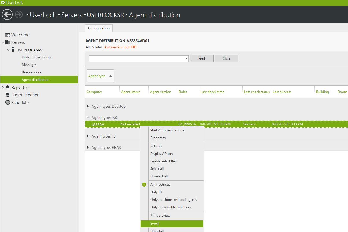 Install the IAS UserLock agent on that IAS server
