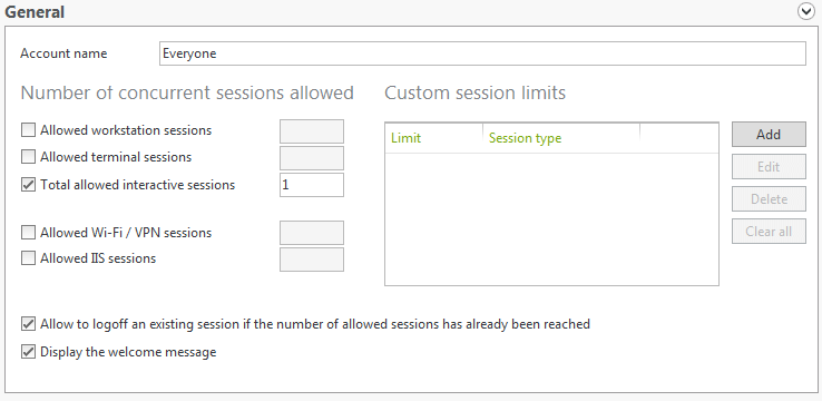 limit the maximum number of sessions opened