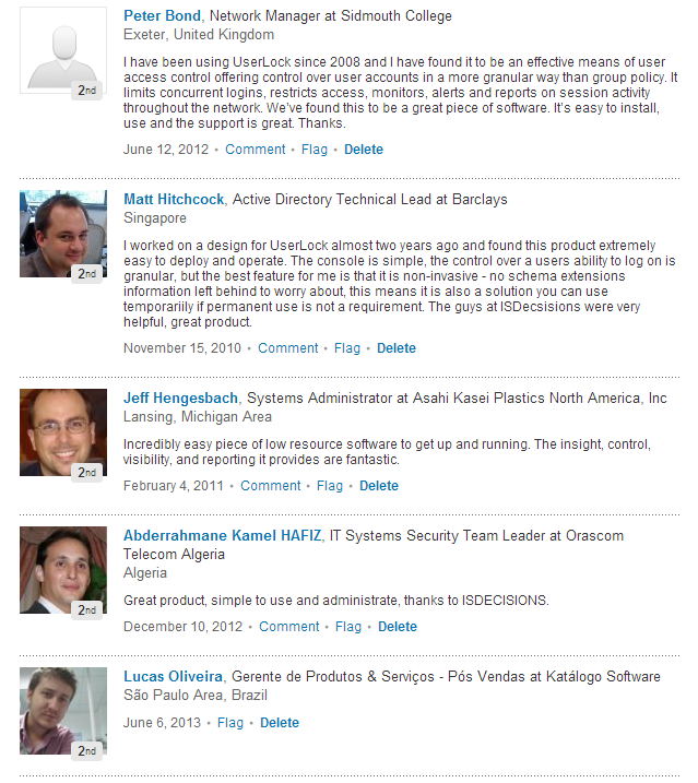 userlock recommendations