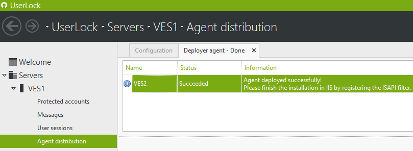 IIS agent distribution message