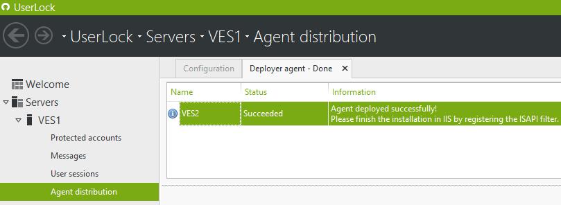 IIS agent distribution message