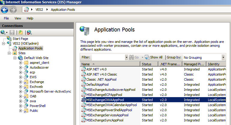 IIS application pools to monitor