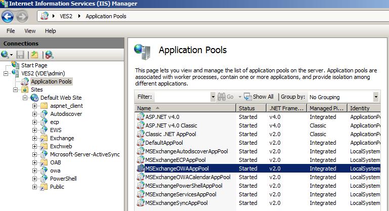 IIS application pools to monitor