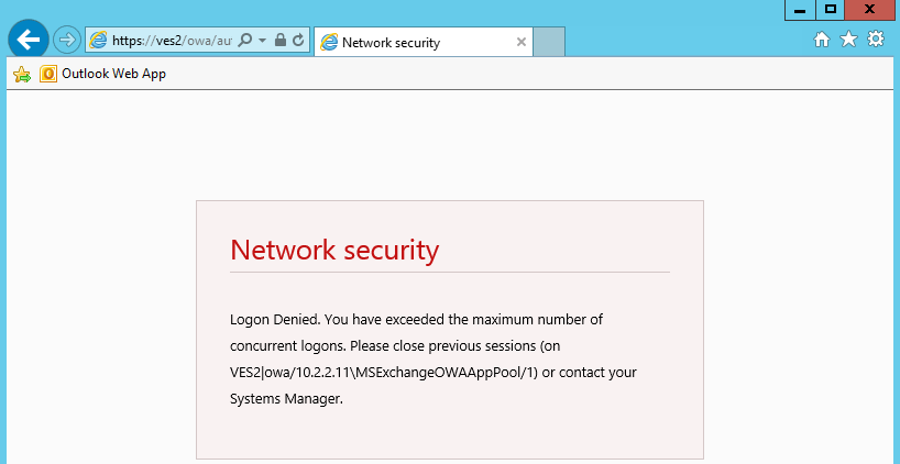 network security concurrent logon denied message