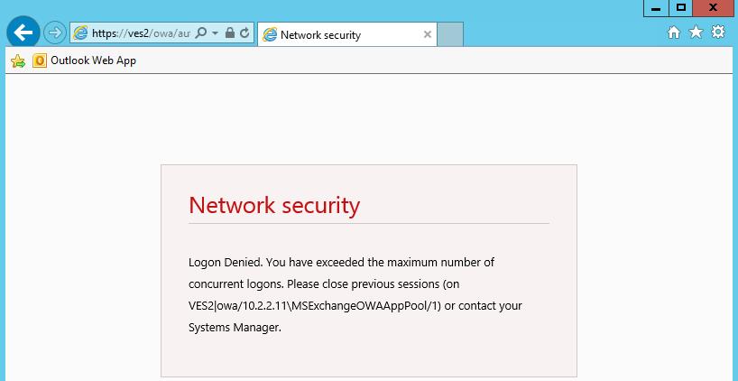 network security concurrent logon denied message