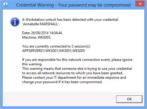 user alert compromised password activity