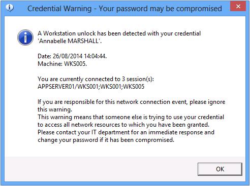 user alert compromised password activity