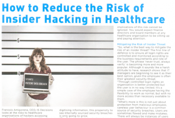 How to reduce the risk of Insider Threat in Healthcare