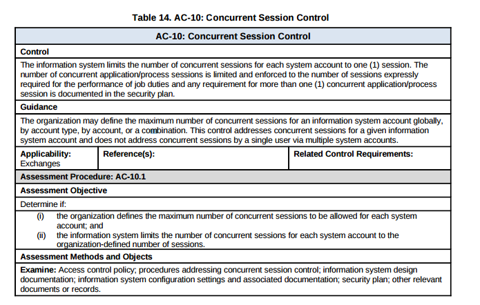 AC 10 Concurrent Session Control