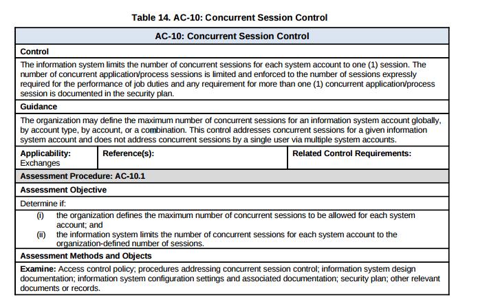 AC 10 Concurrent Session Control