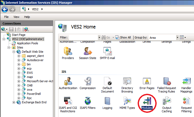 IIS Manager modules
