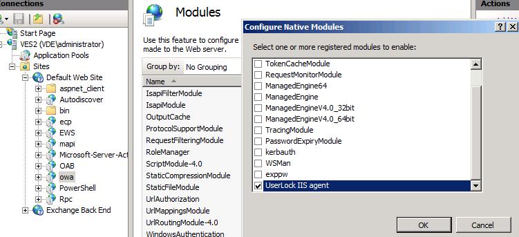 enable UserLock agent OWA ActiveSync