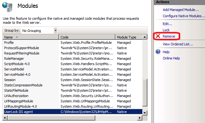 remove UserLock agent modules list IIS