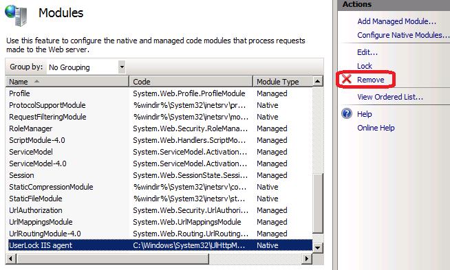 remove UserLock agent modules list IIS