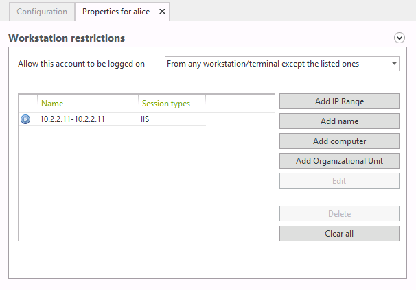 restrict logon by IP address for IIS Sessions with UserLock