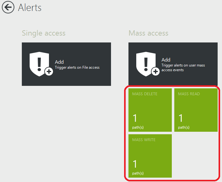 create mass file access alerts
