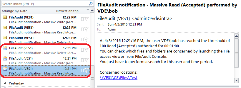 mass alert detect encryption attack file server