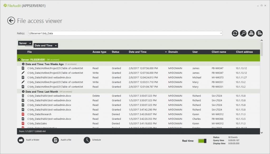real time acess monitoring