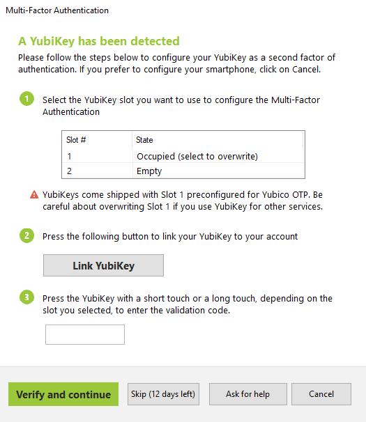 YubiKey detected MFA